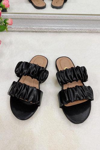 back_Isadora Emma Black Ruched Slide Sandals