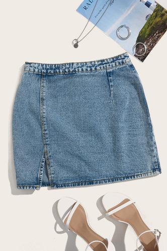back_Milly Elma Wash Blue Slit Hem Skirt