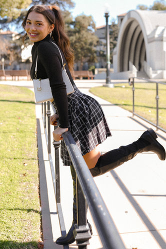front_School's Out Black Plaid Skirt