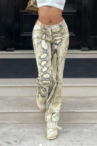 front_Mid Waist Snakeskin Print Straight Leg Multicolor Pants