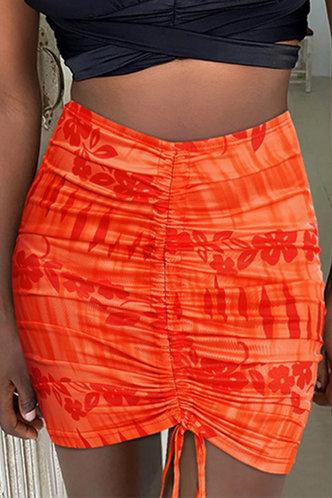 front_Mid Waist Tie Dye Orange Skirts