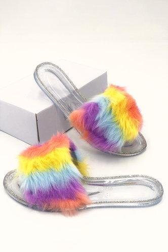 back_Colorblock   Flat Open Toe Rainbow Striped Slides & Flip Flops