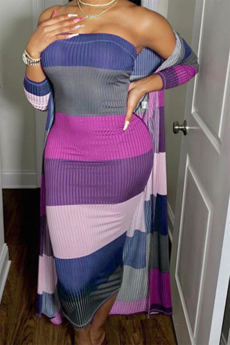front_Bonny Emma Blue Colorblock Rib Knit Tube Dress Without Cardigon