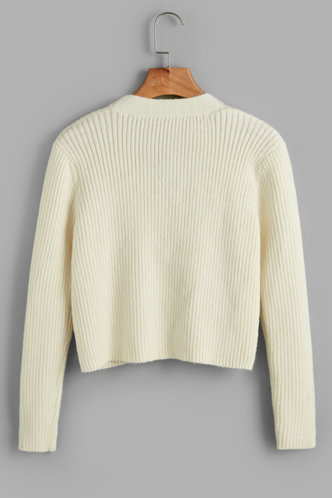 back_Poppin' Champagne Beige Ribbed Knit Cardigan