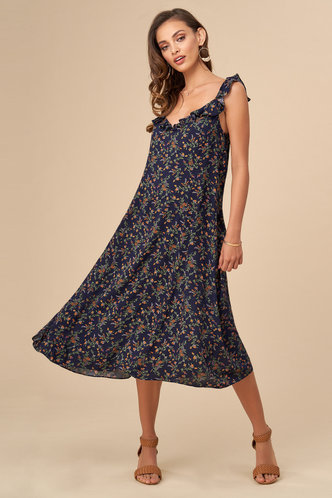 front_Daydreaming Dark Navy Floral Print Midi Dress
