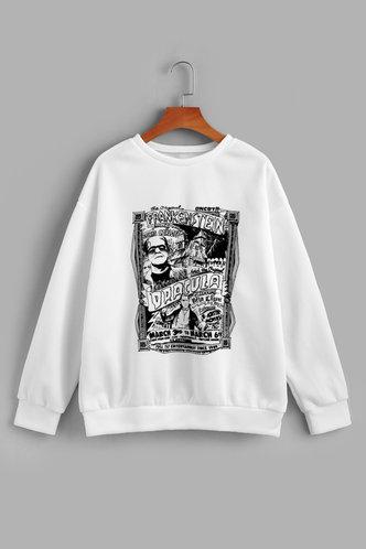 back_Vacation Street Crew Neck White Sweatshirts & Hoodies