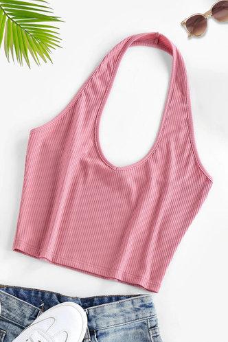 front_Dahlia Pink Halter Top