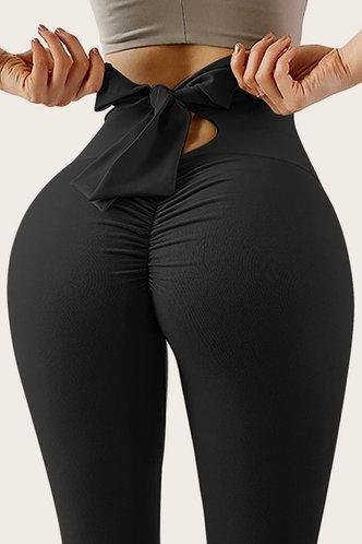 front_High Waist   Pencil Pants Black Leggings