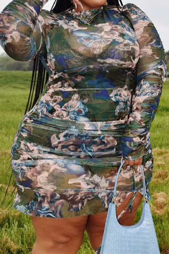 front_All Over Print   Oil Painting Print  Plus Size Dresses