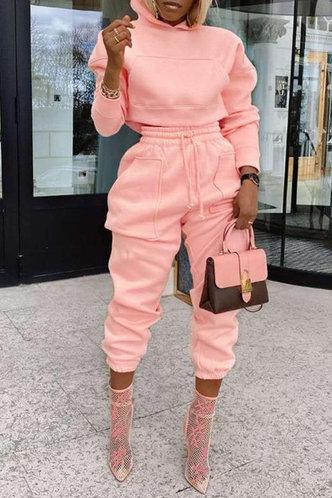 front_Plain Pocket Drawstring Pink Pants Sets