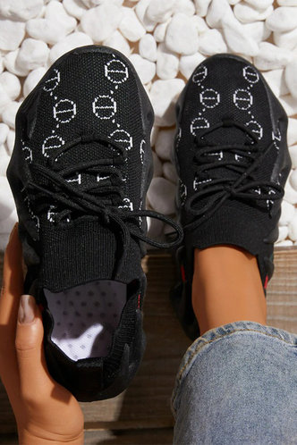 front_Graphic   Flat Round Toe Black Sneakers