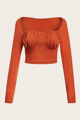 front_Shoulder Love Orange Crop Top