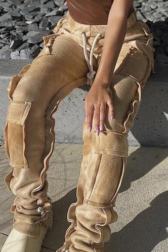 back_High Waist Camel Sweatpants