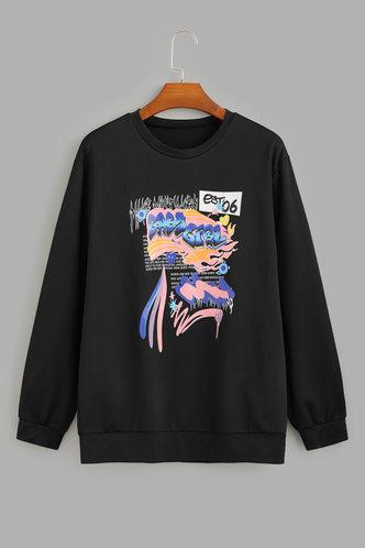 back_Casual Sporty Street Hooded Collar All Over Print Black Sweatshirts & Hoodies