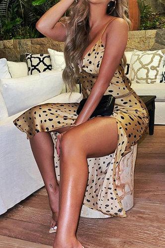 back_Georgie Enid Yellow And Black Polka Dot Cami Split Thigh Dress