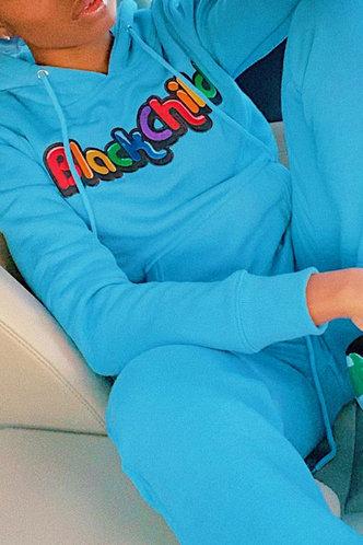 front_Letter Print Pocket Pullover Blue Pants Sets