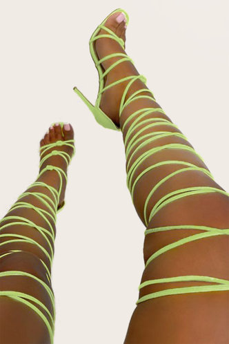 front_Angelina Erica Lime Green Lace Up Heeled Sandals