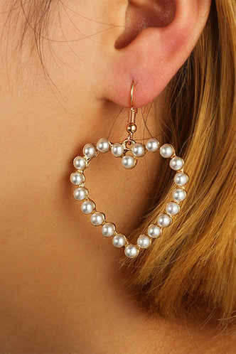 front_Angelina Eleanore White And Gold Heart Charm Drop Earrings 1pair