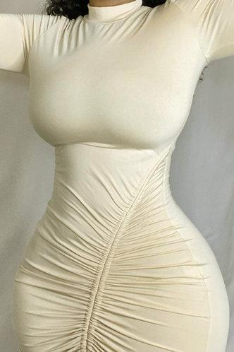 front_Plain  Beige Mini Dresses