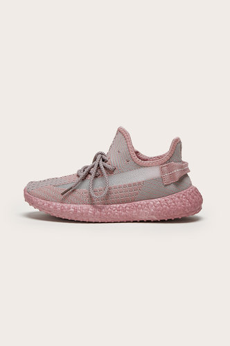front_Kitty Edith Pink Lace Up Front Mesh Sneakers