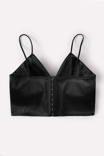 back_Plain Crop Lace Up Black Bras & Bralettes