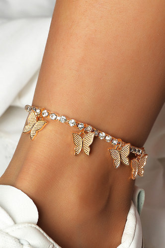 front_Amelia Elsie Gold Butterfly And Rhinestone Charm Anklet