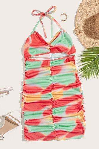 back_Tammy Enid Orange And Green Plus Size Dress