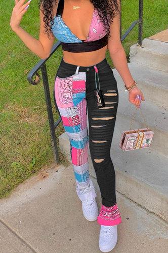 front_Jean Ella Black Multi Print Ripped Jeans