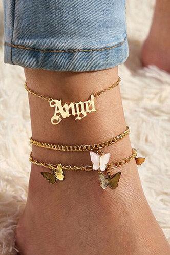 front_Janey Ella Gold Butterfly Charm Anklet 3pcs