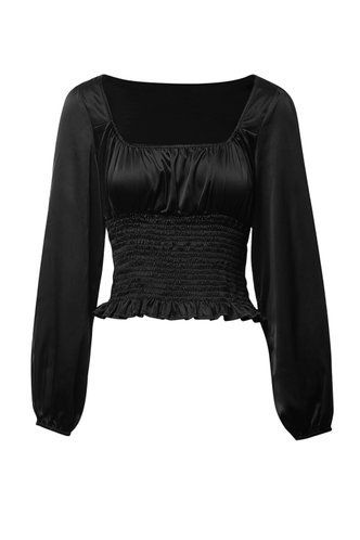 front_Paris At Night Black Shirred Blouse