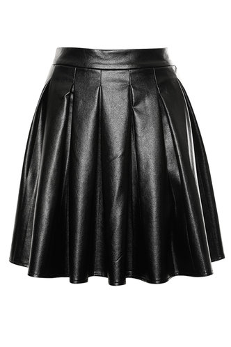 front_Party In Pleats Black PU Leather Skirt