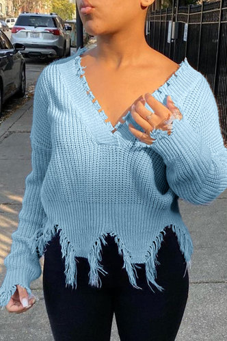 front_V Neck Plain  other Dropped Shoulder Baby Blue Sweaters