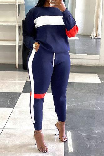 front_Colorblock   And Navy Blue Plus Size Pants Sets