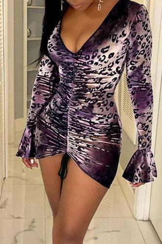 front_Mae Evangeline Leopard Print Drawstring Front Bodycon Dress