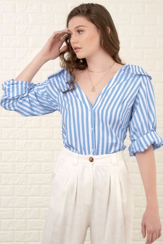 front_My Feeling White And Blue Striped Blouse