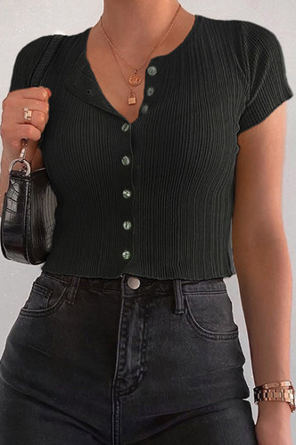 front_Ally Eileen Black Button Front Tee