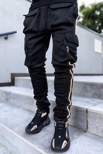 back_Street Striped Pocket Black Men Pants
