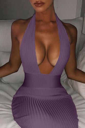 front_Hillary Elsa Purple Halter Bodycon Dress