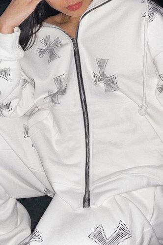 back_Sporty Lapel Neck Plain White Outerwear