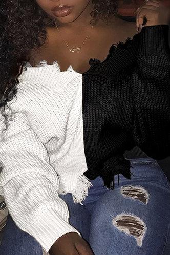 front_V Neck Color Block Dropped Shoulder Black And White Sweater