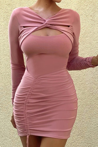 front_Candance Erica Pink Twisted Drawstring Side Cutout Dress