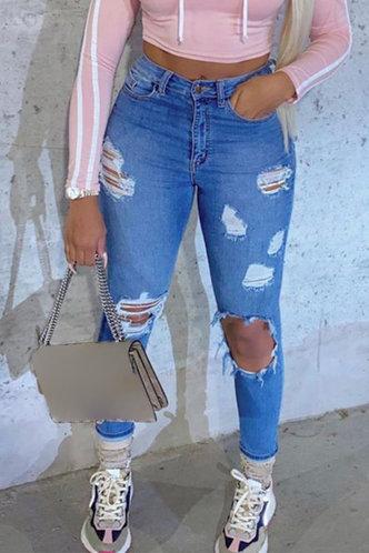 front_Mid Waist Plain Skinny Wash Blue Women Jeans
