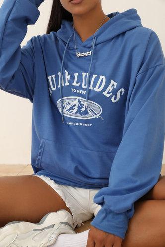 front_Hooded Collar Letter Print Blue Sweatshirts & Hoodies