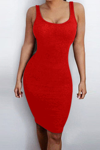 front_Shopping Vacation Bar/Nightclub Sleeveless Square Neck Red Dresses