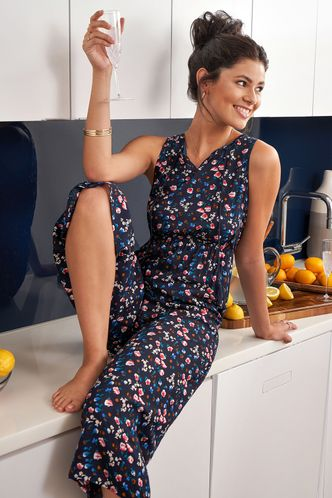 front_Made for You Dark Navy Floral Print Jumpsuit