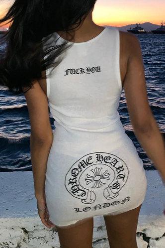back_Daily Sleeveless Crew Neck White Letter Print Dresses