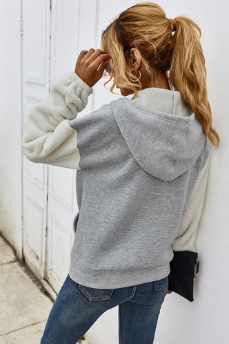 back_Efia Light Grey Hooded Jacket