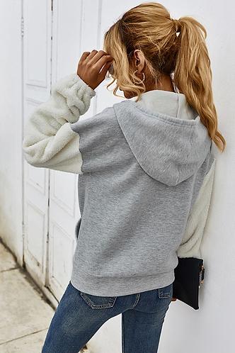 back_Efia Light Grey Hooded Jacket