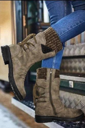 front_Plain Flat Round Toe Khaki Boots