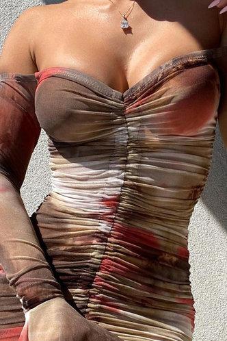 back_Hermosa Eudora Tie Dye Off Shoulder Drawstring Dress